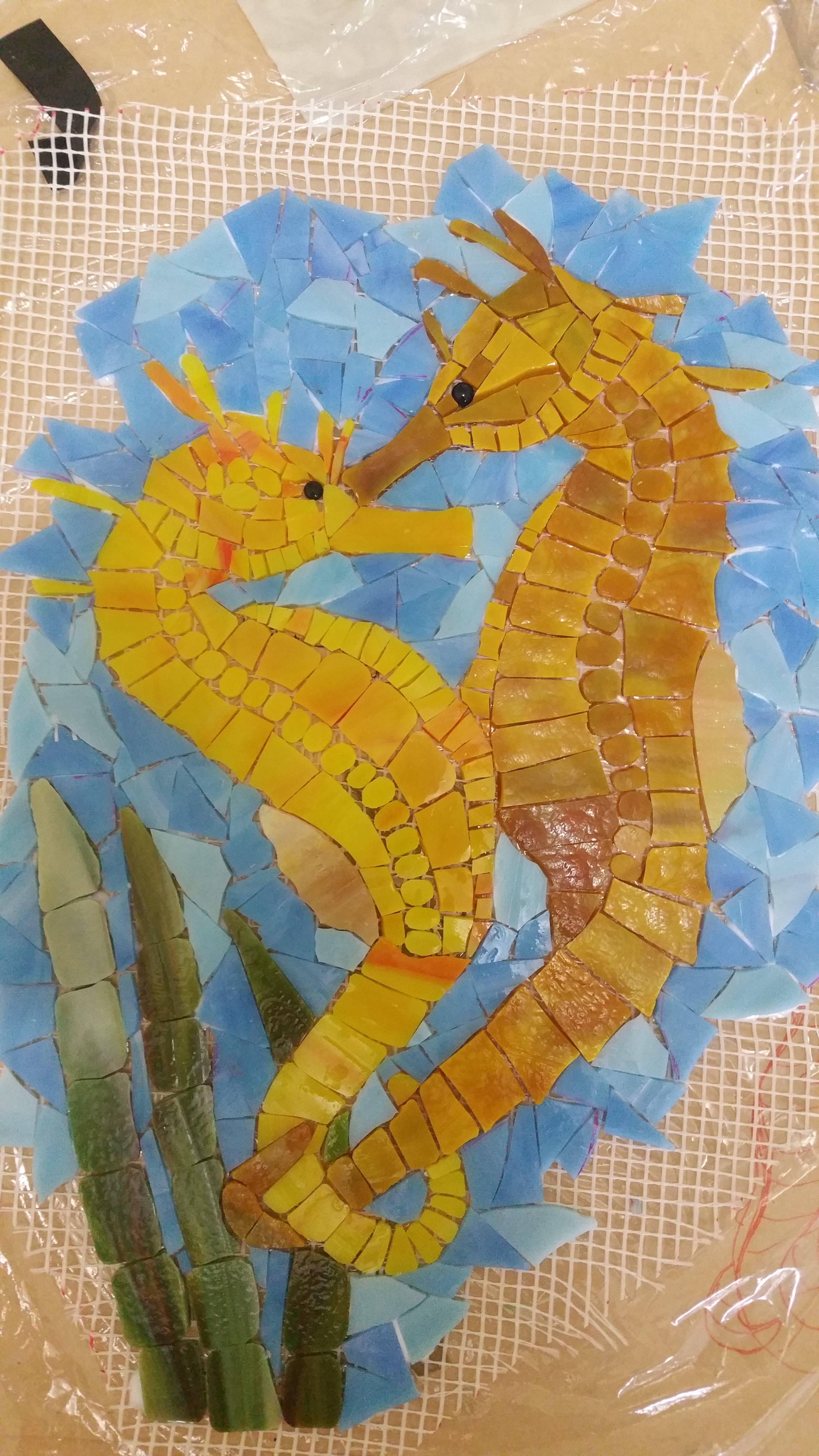 Seahorses - glass on fibre mat